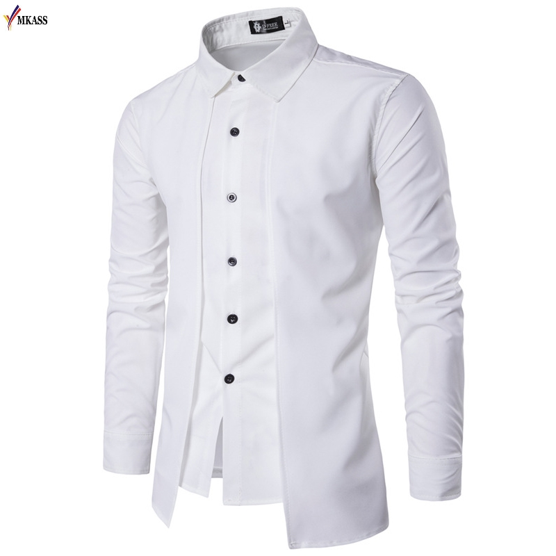 New Men's Fashion Shirt 2019. Imitate A Two-piece Fashionable Men's Dress Shirt. Large-size Casual Shirts In Europe And America