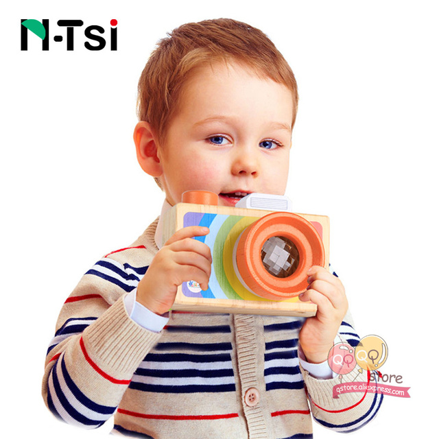 N-Tsi Baby Cute Mini Wooden Toy Camera for Children Hanging Decor Fashion Clothing Accessory Birthday Gift Nordic European