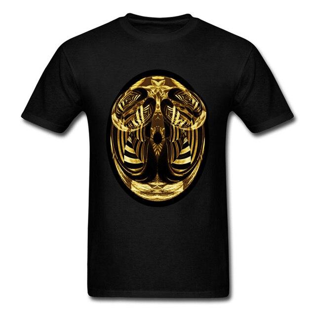 770e65807df6 Gold Abstract Face 2018 Men Black T-shirt Strange Art Design Unique Summer  Tops Street Fashion Heavy Metal T Shirt