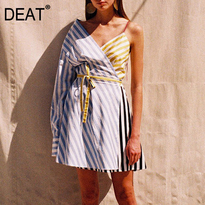 DEAT 2019 new autumn fashion women clothes Product Split Joint one shoulder Sleeve Camisole Shirt Dress