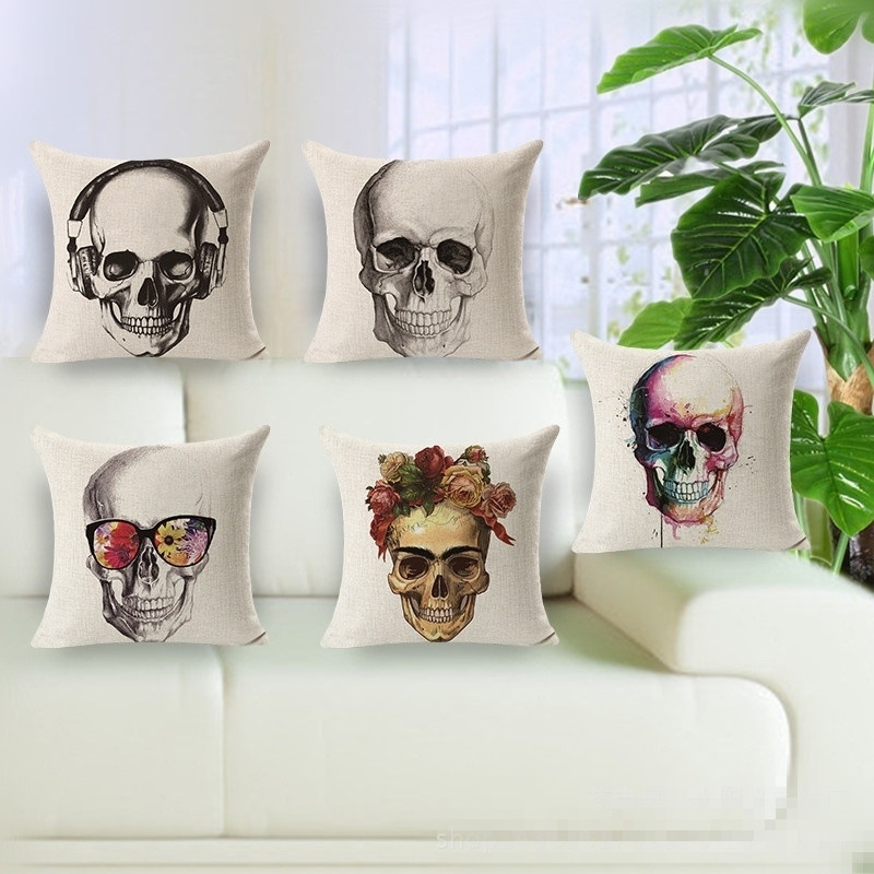 Vintage Style Skull Cotton Linen Square Pillow Cases Sofa Car Throw pillow Cushion Cover Textile products Cotton pillowcase