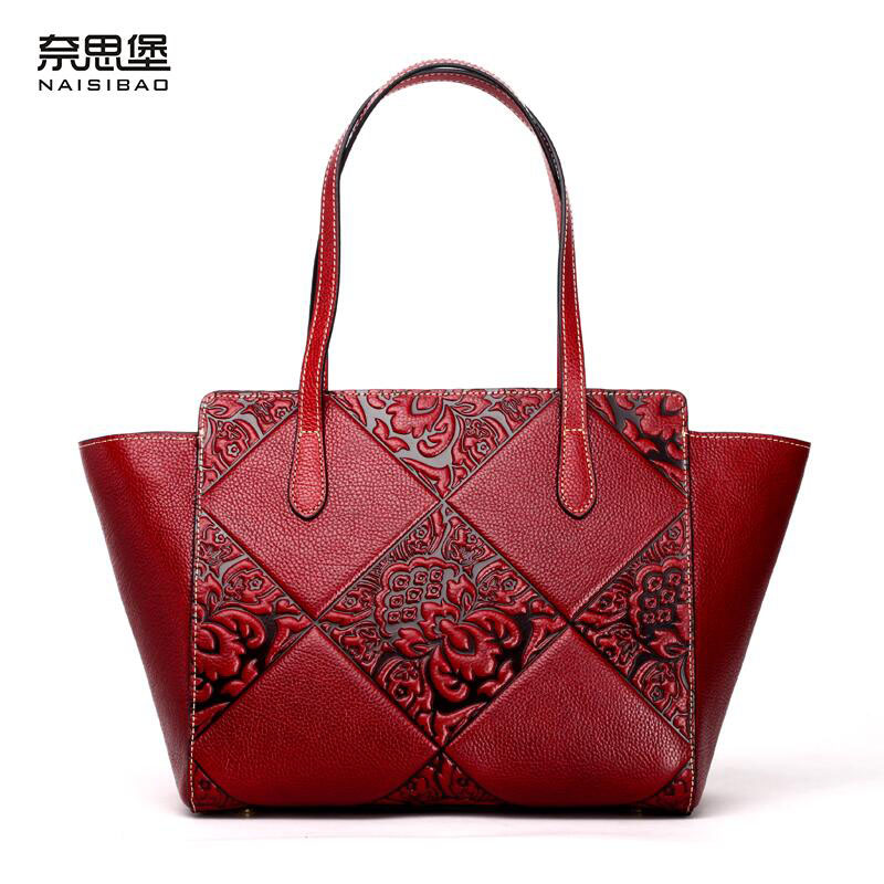 NAISIBAO New women genuine leather bag famous brands quality cowhide embossed women leather handbags shoulder bag