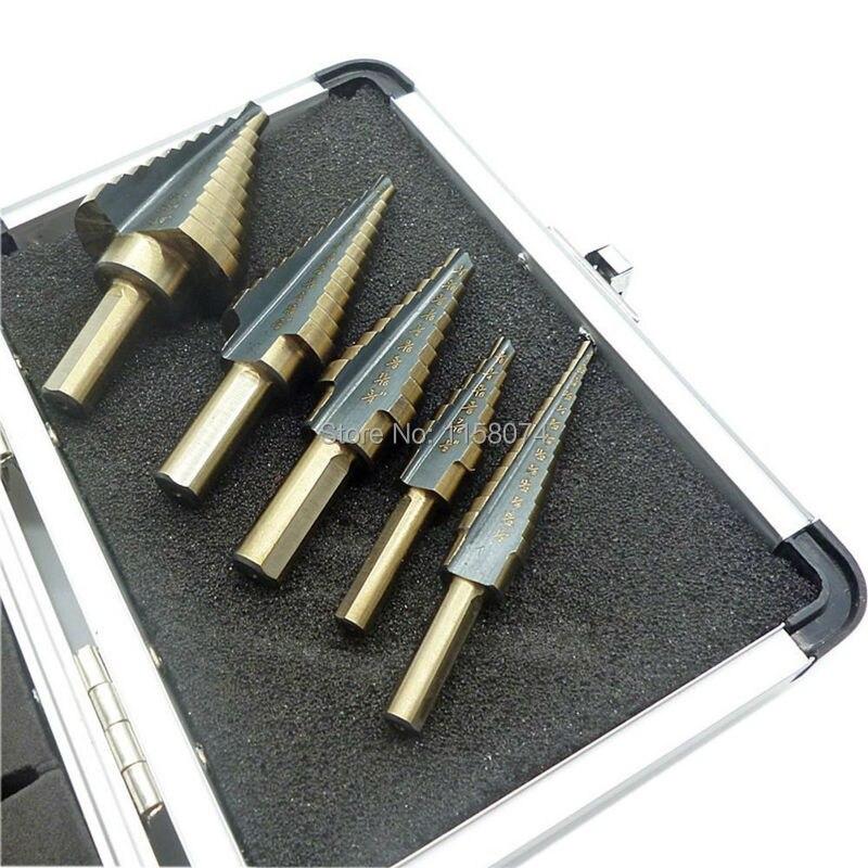 5pcs Haute Vitesse Acier Grand Cobalt Trou Titane Cône Étape Drill Bit Cutter Set Outils avec Étui