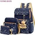 Ayez Женщины Рюкзак установить 2016 печать Школьные Сумки Подростков моды элегантное холст daypacks Рюкзаки Bookbag дорожная сумка LM3583fb