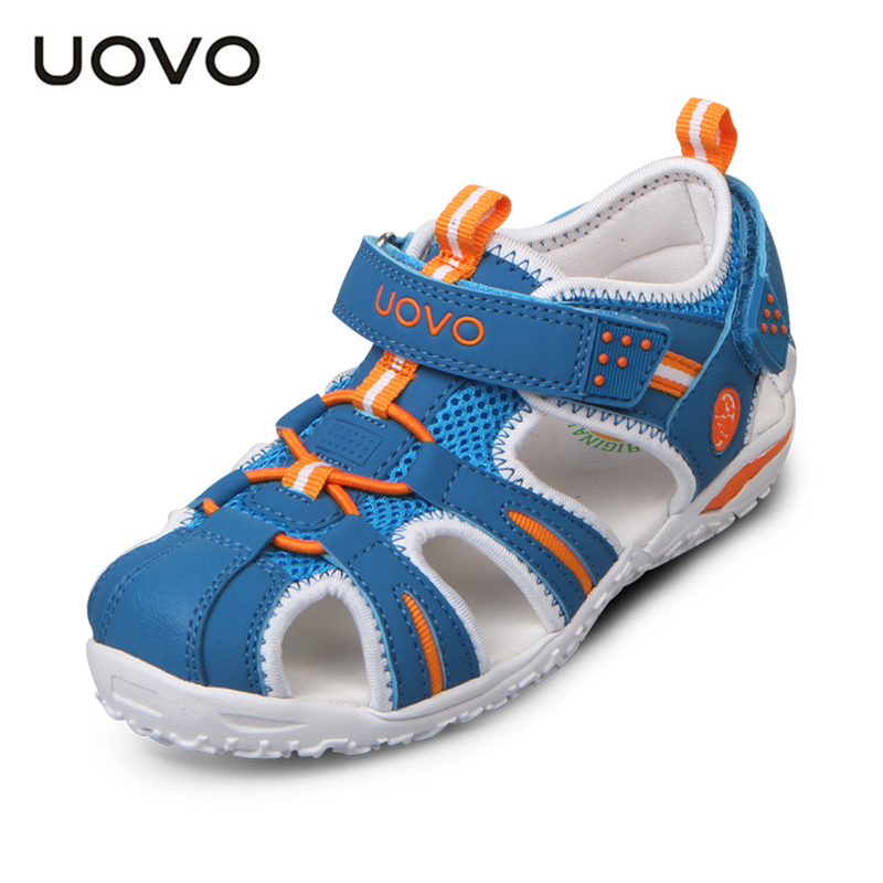 ФОТО Baby Sandals Leather UOVO Summer Beach Kids Shoes Closed Toe Sandals For Boys And Girls Toddler Sandals For 3-8 Years Old Kid