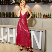 Kinikiss Sequins Summer Dress Vintage V Neck Sequins Backless Party Club Maxi Dress Women Bodycon Red