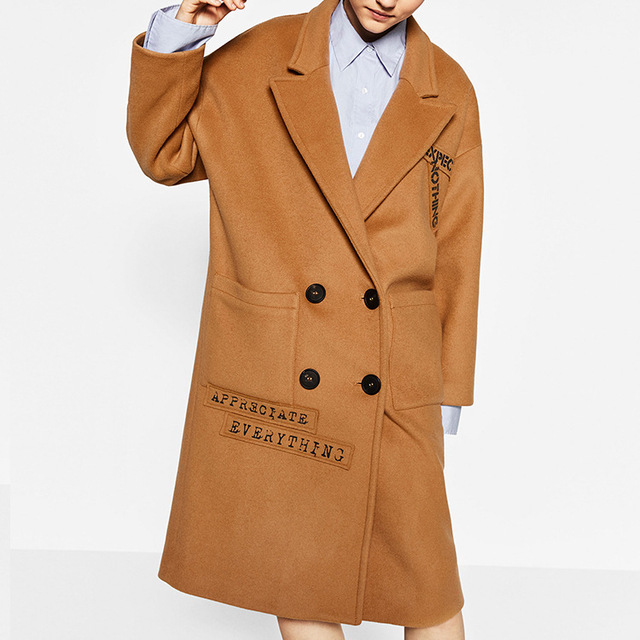 2017 autumn new fashion dark camel color wool coat drop shoulder with text print go after - Camel Color