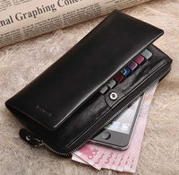 teemzone 100% Soft Leather Women's Unisex Genuine Leather Bifold Wallet Zipper Coin Purse Card Cash Holder Phone Wallets Q312