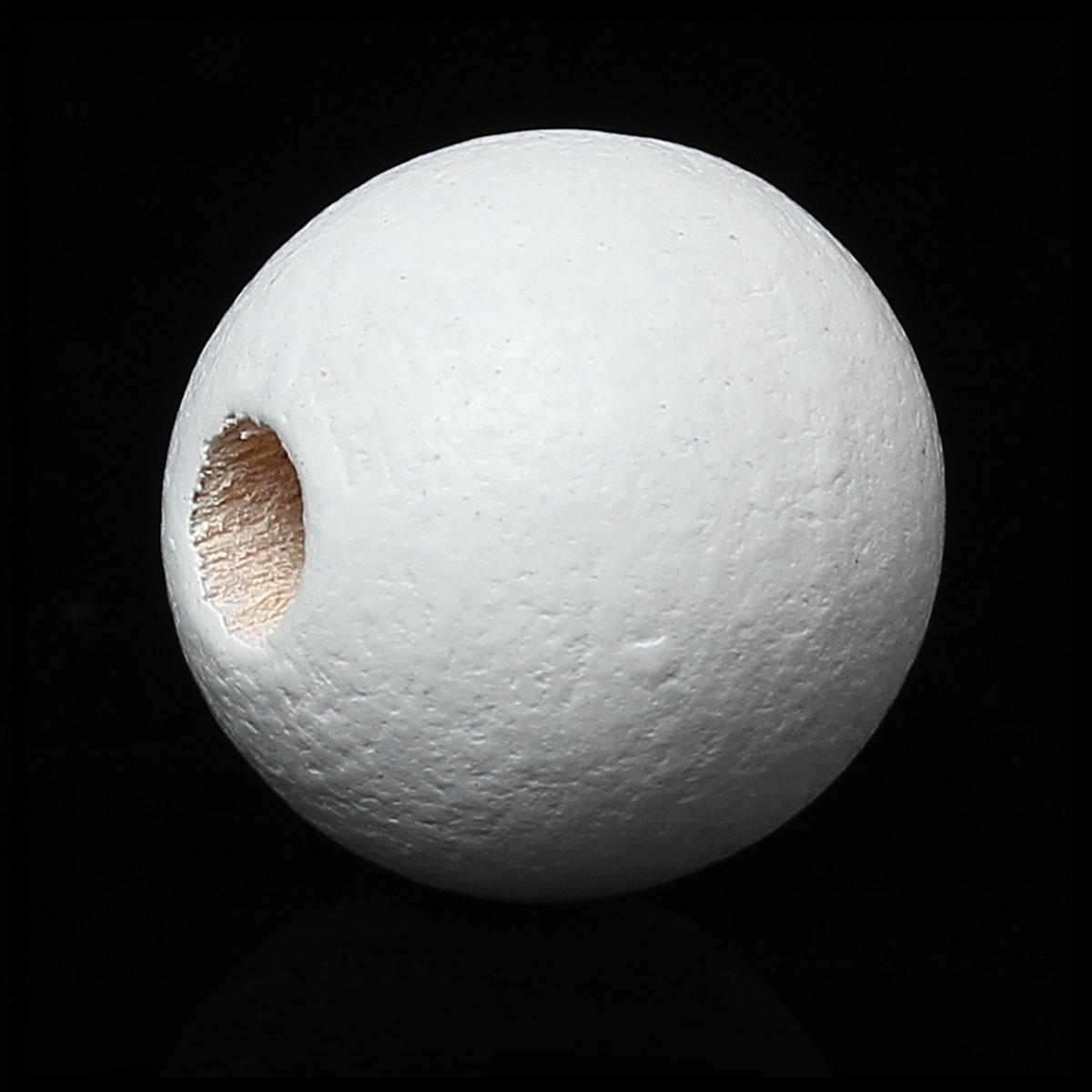 40 Stücke 2016 Neue 2,2mm-3mm Loch: Ca Doreenbeads Heißer Verkauf Schmuck Diy Holz Spacer Perlen Runde Weiß Über 10,0mm 3/8 Durchmesser
