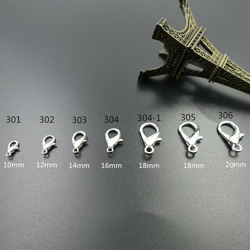 20pcs 6 Sizes Metal Lobster Clasp Bracelet Necklace jewelry Accessories Clasps Snap Hooks Key findings Chain Lanyard DIY Craft