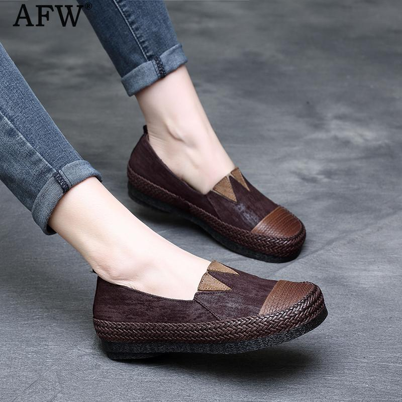 AFW Casual Leather Loafers Women Shoes Spring 2018 Genuine Leather Women Flats Brand Slip On Retro Shoe Handmade Women Flat Sale cresfimix zapatos women cute flat shoes lady spring and summer pu leather flats female casual soft comfortable slip on shoes