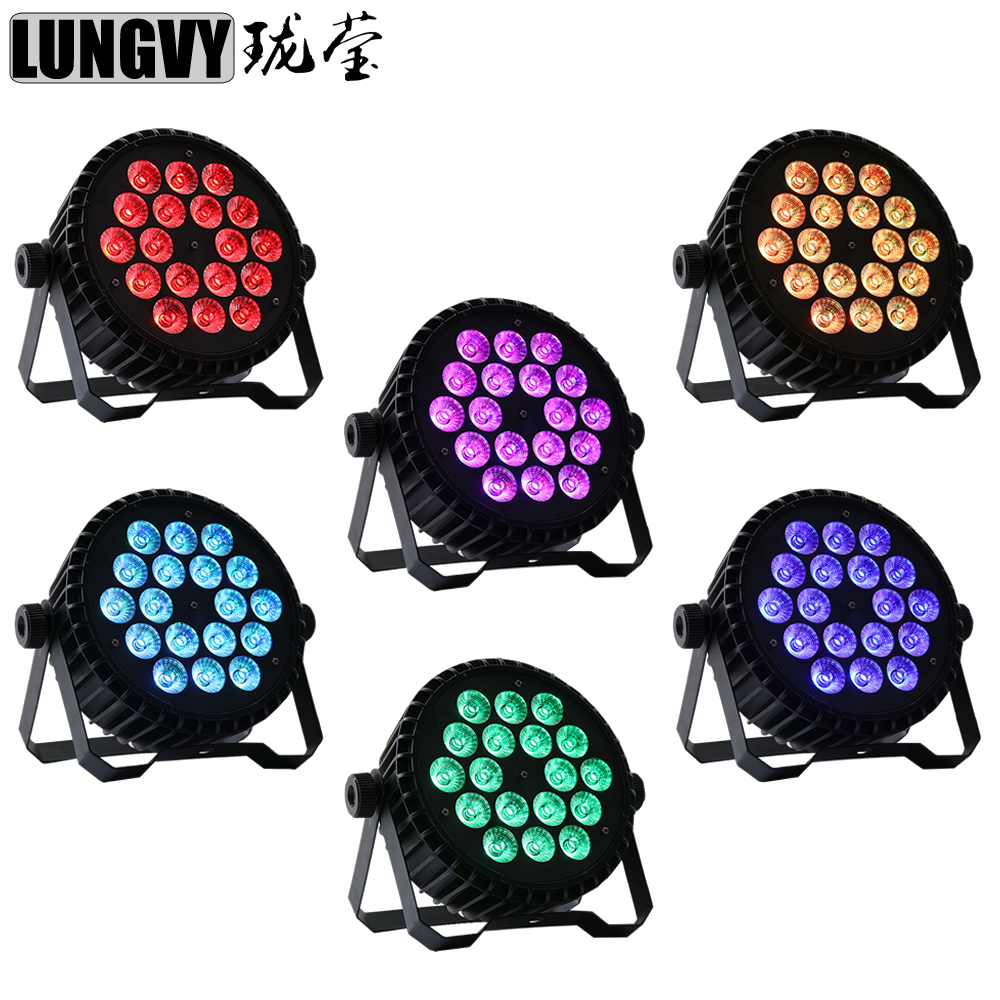Free Shipping 6pcs/lot Brightest Casting Aluminum Case 18X10W 4in1 RGBW 8CH DMX Led Flat Par Light Professional DJ Equipment free shipping 8pcs lot casting aluminum case led flat par 18x10w 4in1 rgbw led par can light stage dj light