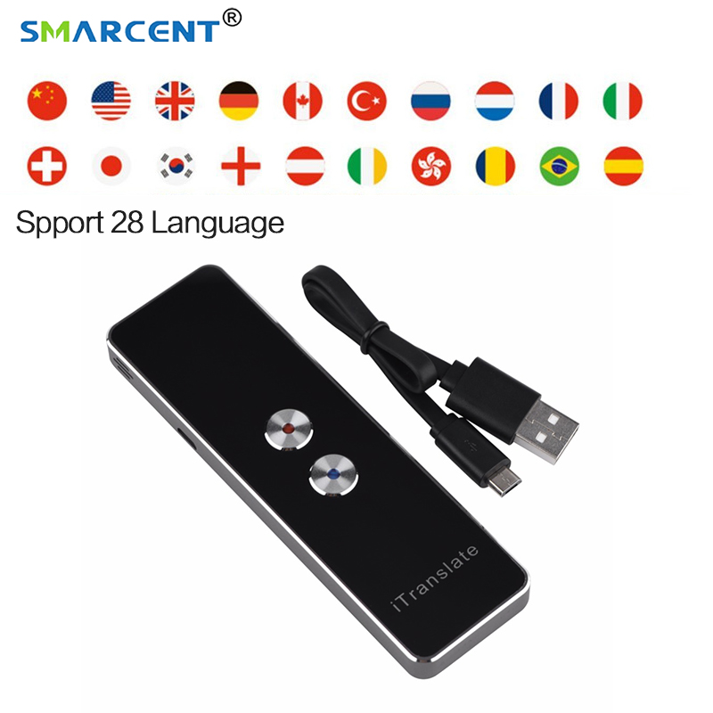 Smarcen Portable Smart language translator voice instant traductor simultaneo 28 languages for Learning Travel Meeting support