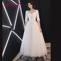 AXJFU Luxury sweetheart white lace evening dress princess party pearls sashes half sleeve white evening dress 100% real photos