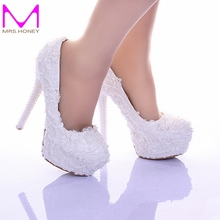 Elegant White Lace Wedding Shoes 2016 Custom Made Bridal Dress Shoes Real Leather Prom Party Pumps Bridesmaid Shoes Plus Size