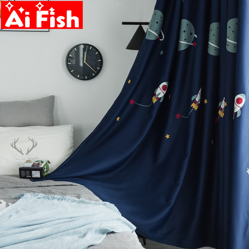 US $5.77 45% OFF|Boy Cartoon Blackout Curtain Fabric Embroidered Curtain  For Children\'s Bedroom Navy Blue Outer Space Sunshade Cloth my058 4-in ...