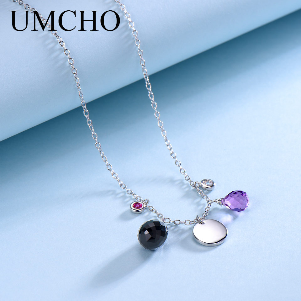 UMCHO Natural Agate Real 925 Sterling Silver Necklace For Women Personalized Natural Amethyst Birthstone Pendants Jewelry Gift