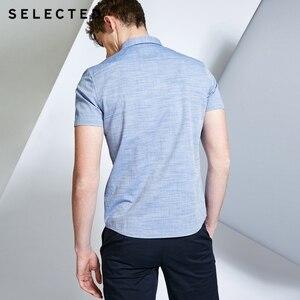 Image 3 - Мужская рубашка из 100% хлопка чистого цвета с острым воротником и короткими рукавами C