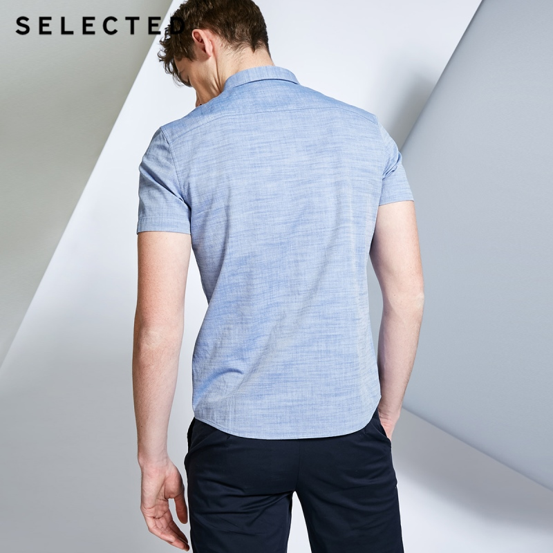 Image 3 - SELECTED Mens 100% Cotton Pure Color Pointed Collar Short sleeved Shirt C418204531Casual Shirts