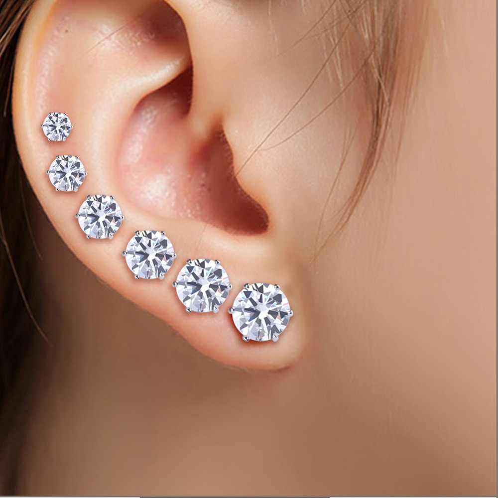 6 çift/grup moda mozaik beyaz AAA CZ siyah erkek küpe setleri küçük düğme küpe kadınlar için basit kulak takı