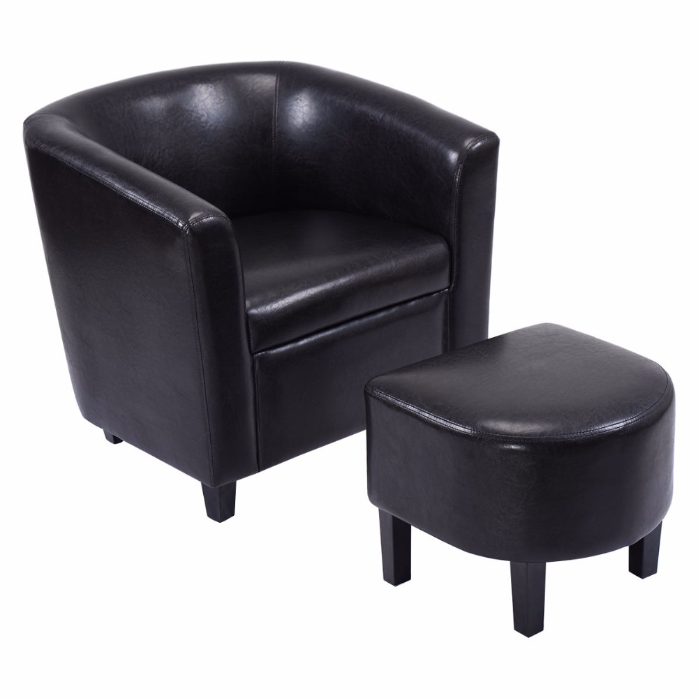 Goplus modern leisure chair black pu leather wood arm for Contemporary black leather chairs