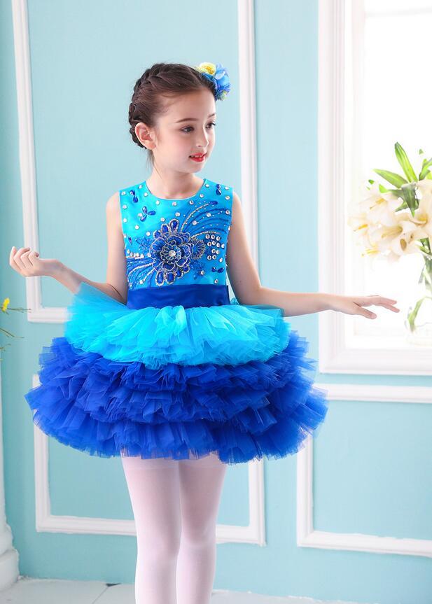 Пышное платье принцессы для девочек; вечерние костюмы для бальных танцев; одежда для выступлений в студенческом хоре; одежда с блестками; юбка из плотной пряжи - Цвет: Синий
