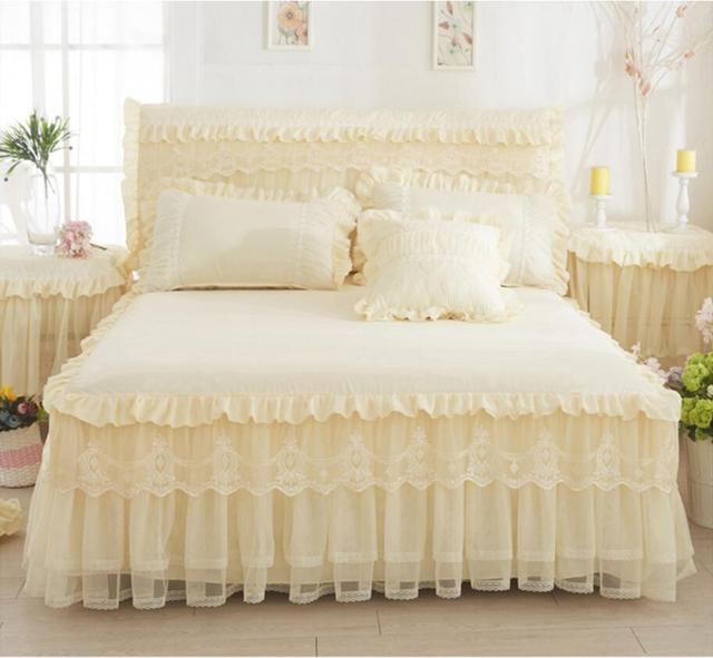Beige/Pink 1pcs Lace Bed Skirt+2pcs Pillowcases Princess Bedding Bedspreads Fitted sheet For Girl Mattress Cover King Queen size