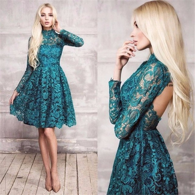 High Neckline Dark Green French Lace Long Sleeve Cocktail Dresses Backless Short  Prom Dress 2017 with d09fa490288c