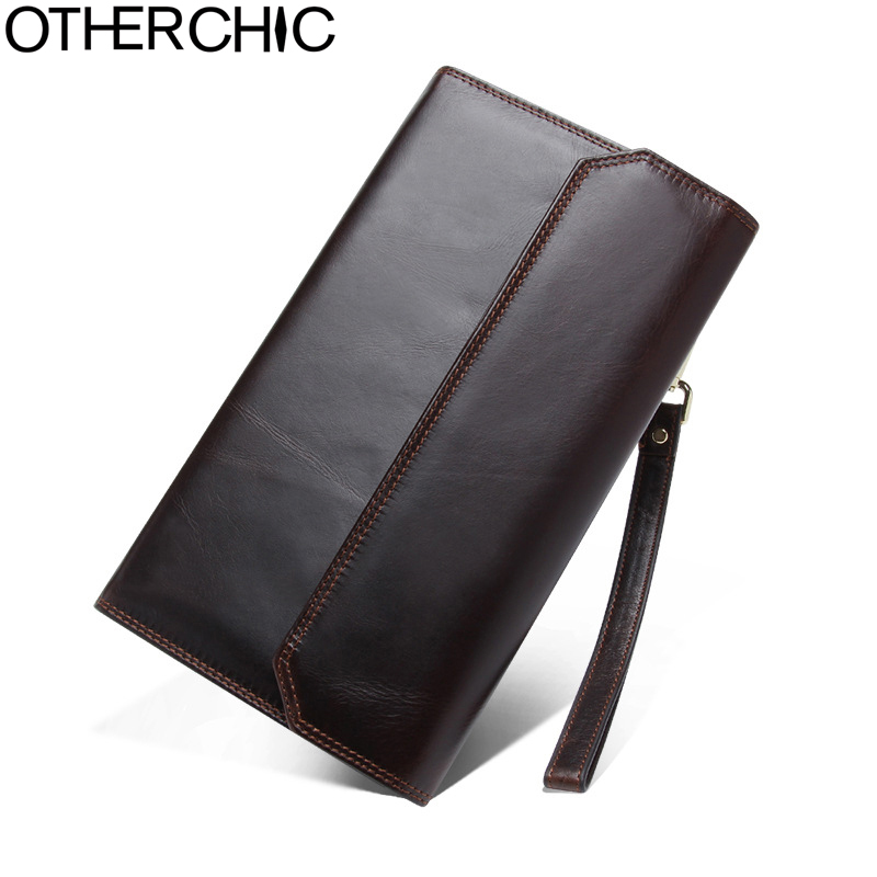 где купить OTHERCHIC Men Wallet Clutch Bag Long Cow Leather Zipper Genuine Leather Men Card Holder Portefeuille Femme 17Y04-54 по лучшей цене