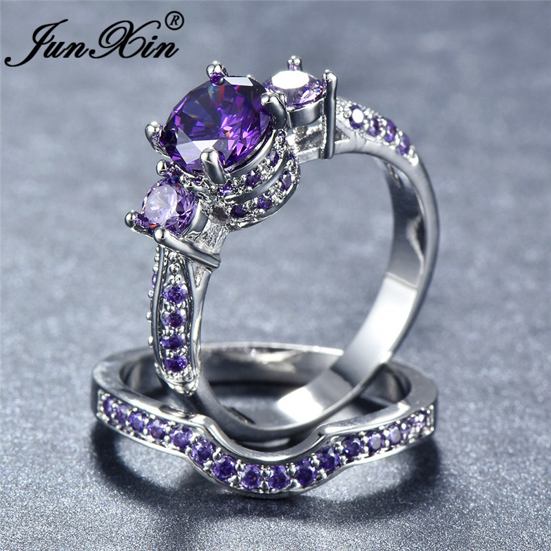 JUNXIN Female Round Purple White Blue Zircon Engagement <font><b>Ring</b></font> <font><b>Sets</b></font> For Women Silver Color Wave <font><b>Rings</b></font> For <font><b>Couples</b></font> CZ image
