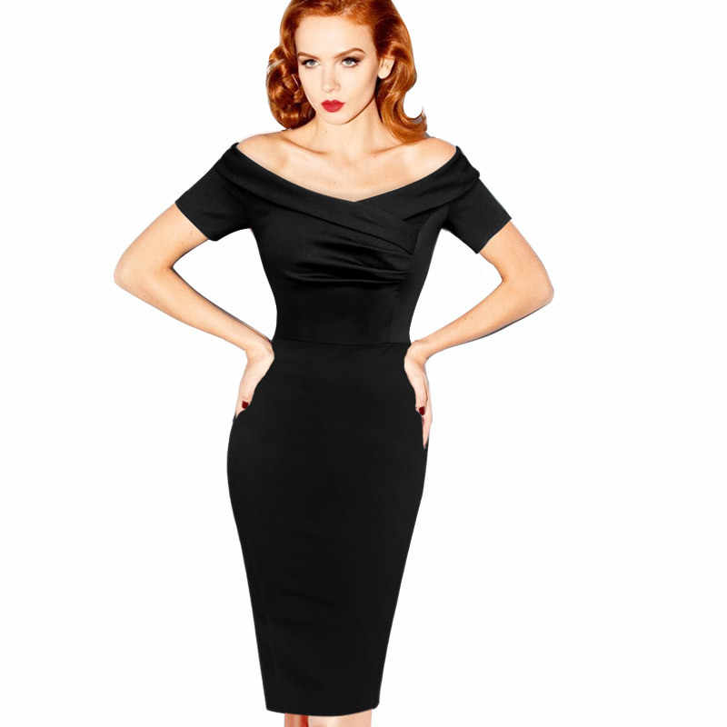 Vfemage Womens Zomer Elegante Vintage Pinup Retro Rockabilly Sexy Off Shoulder Ruches Party Bodycon Schede Wiggle Dress 500