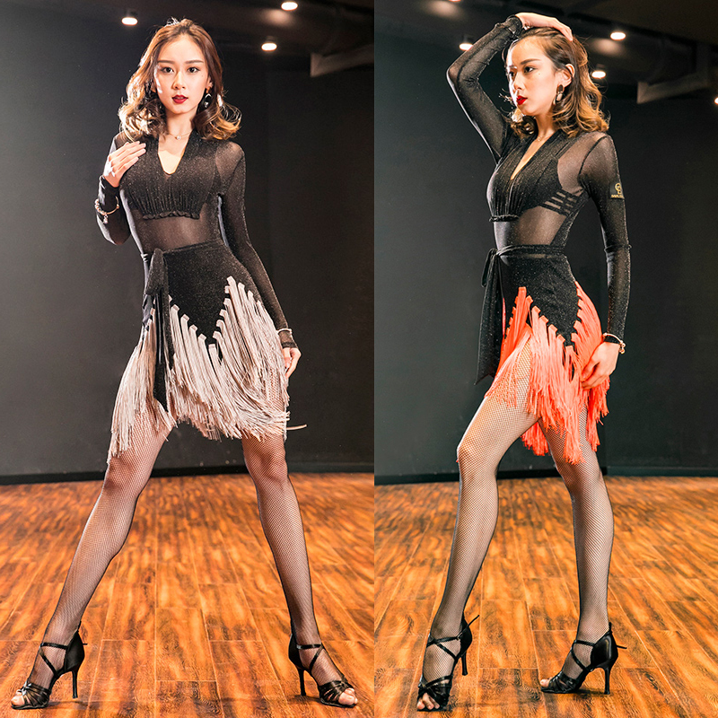 Latin Dance Dress Women Sexy Fringe Dress Long Sleeve Tango Ballroom Flamengo Tango Modern Salsa Competitive Latin Dance BL1283