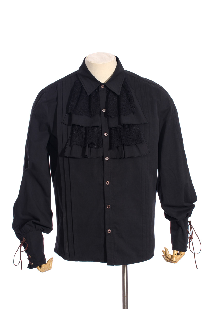 Men's Shirt Retro Black Steampunk Cotton Shirts With Lace Decoration Cross Rope Royal Designer Long Sleeves Party Shirts