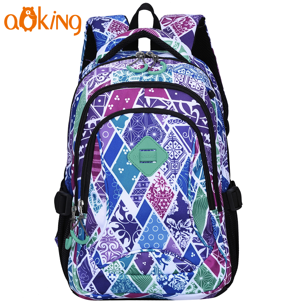 Aoking Lightweight Flower Printing Backpack for Women Daily Leisure School Backpack for Girls Waterproof Nylon Causal Backpack 2018 bendy and the ink machine backpack for children school bags cartoon game printing book backpack daily school backpack