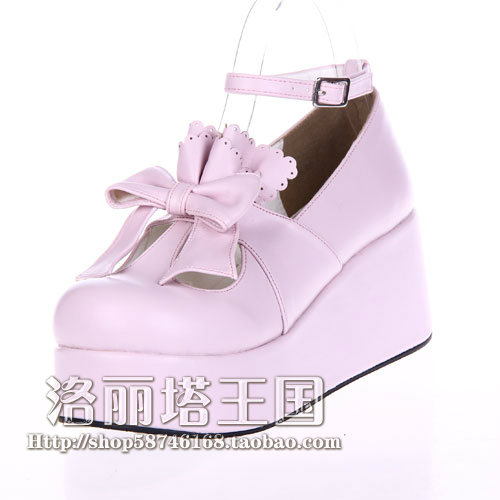 ФОТО Sweet Lolita shoes Princess cos shoes flat platform pink dress shoes lace and bow cosplay custom color can choose