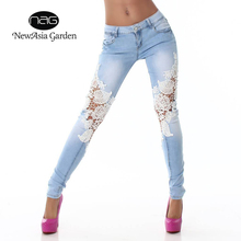 NewAsia Garden 2017 new fashion Elegant skinny woman jeans denim slim pencil pants washed sexy lace jeans femme women trousers(China)