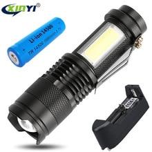 2000LM Portable LED Torch Q5 COB Mini Black Waterproof LED F
