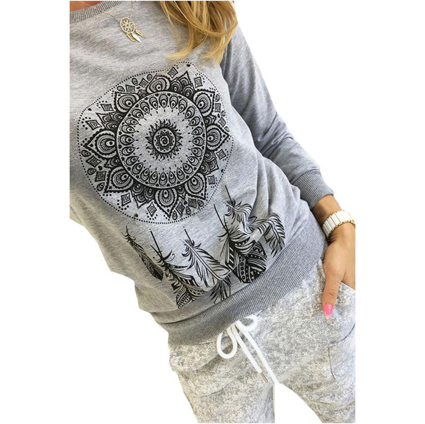 Feitong Mujeres feather print T shirt O-cuello de manga larga camisas de la vend