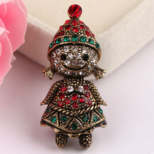 Gold Plated Christmas Enamel Witch Christmas Brooch For Party Cheap Red Rhinestone Christmas Brooches Lot Clip For Scarf Buckle