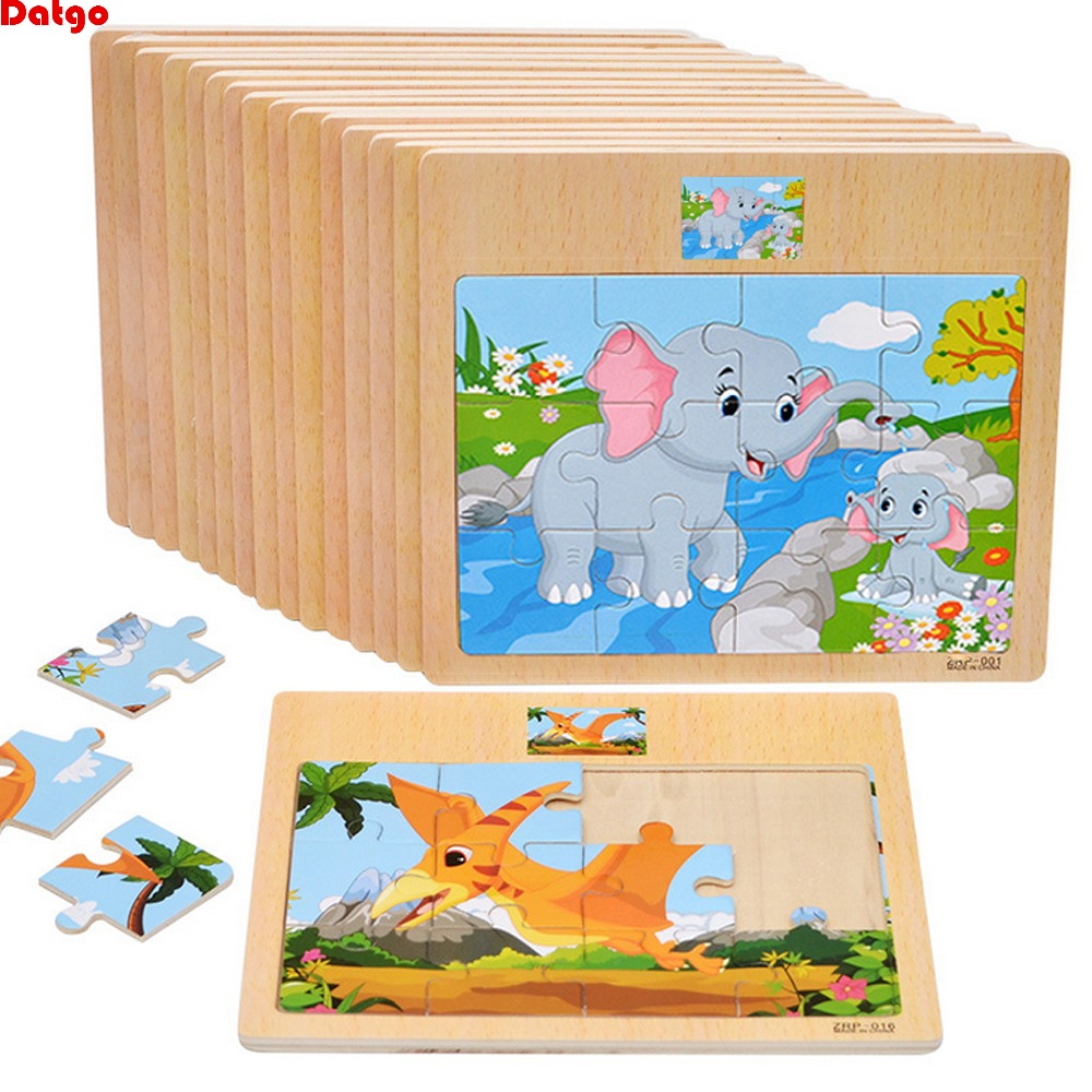 12 Piece Puzzle Wooden Toys Kids Baby Wood Puzzles Cartoon Vehicle Animals Learning Educational Toys For Children Gift