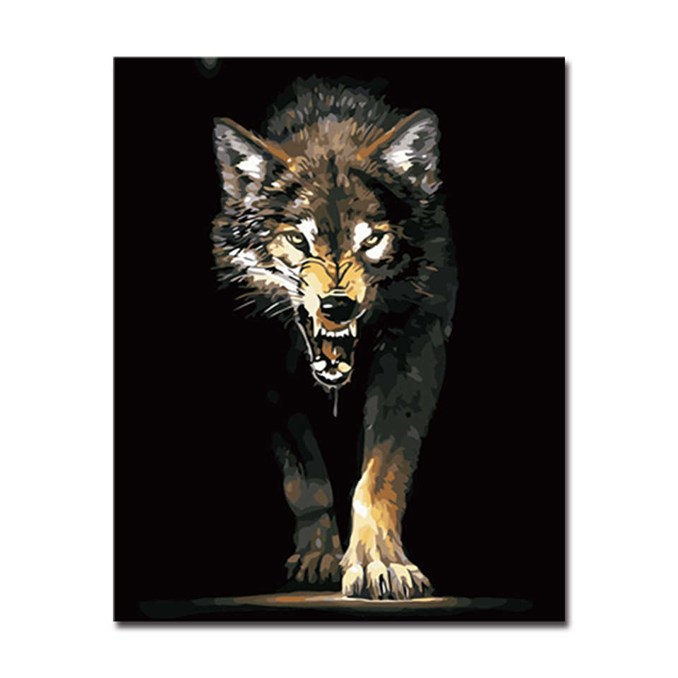 Framework DIY Oil Painting By Numbers Hand Painted Animals Wolf Pictures Kits Coloring On Canvas Home Decoration Wall Artwork