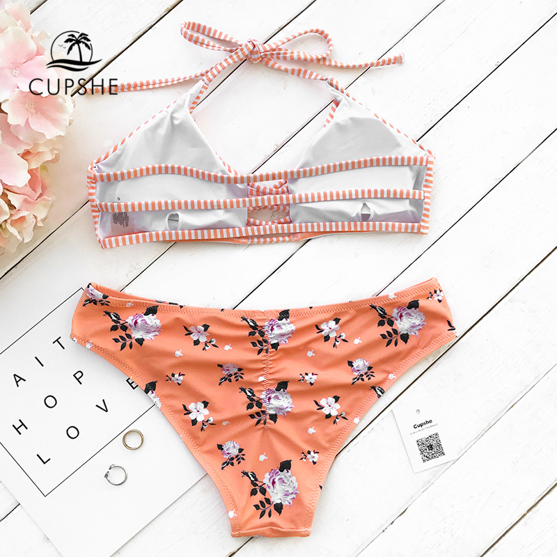 73f32dbef0bfa CUPSHE Orange Fanta Halter Bikini Set Women Triangle Back Lace Up Two  Pieces Swimwear 2019 Girl Beach Bathing Suit Swimsuits-in Bikinis Set from  Sports ...