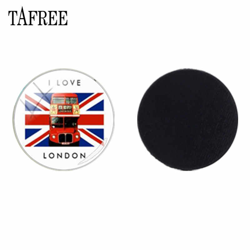 TAFREE I Love London Travel Bus Glass Dome Beads Fridge Magnet Decorative Message Board Stickers Jewelry Findings H181