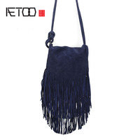 AETOO The new tassel bag ladies oblique oval scrub package sell through the explosion package