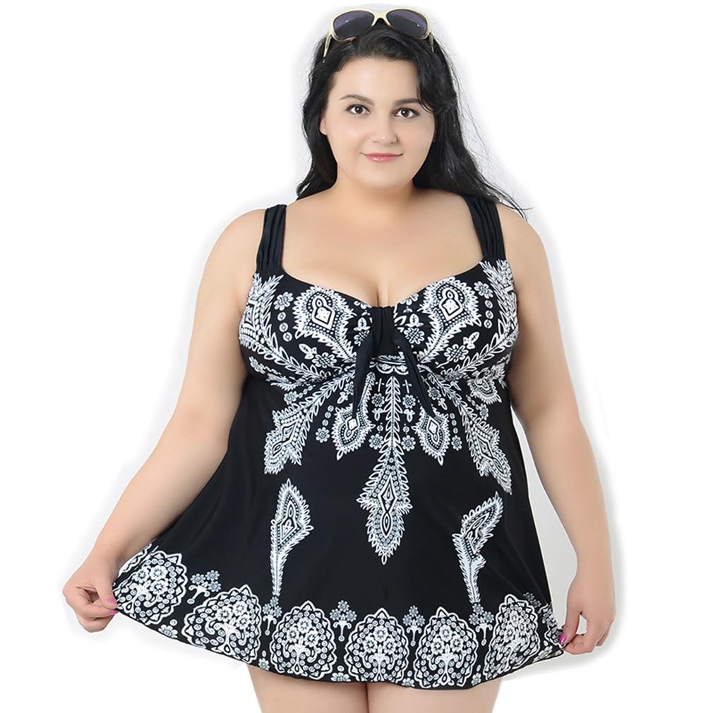 Black Swimsuit Printed Swimwear Plus Size Strappy Monokini Women Trikini Sexy Two Piece Set Maillot De Bain Femme 2017 Une Piece