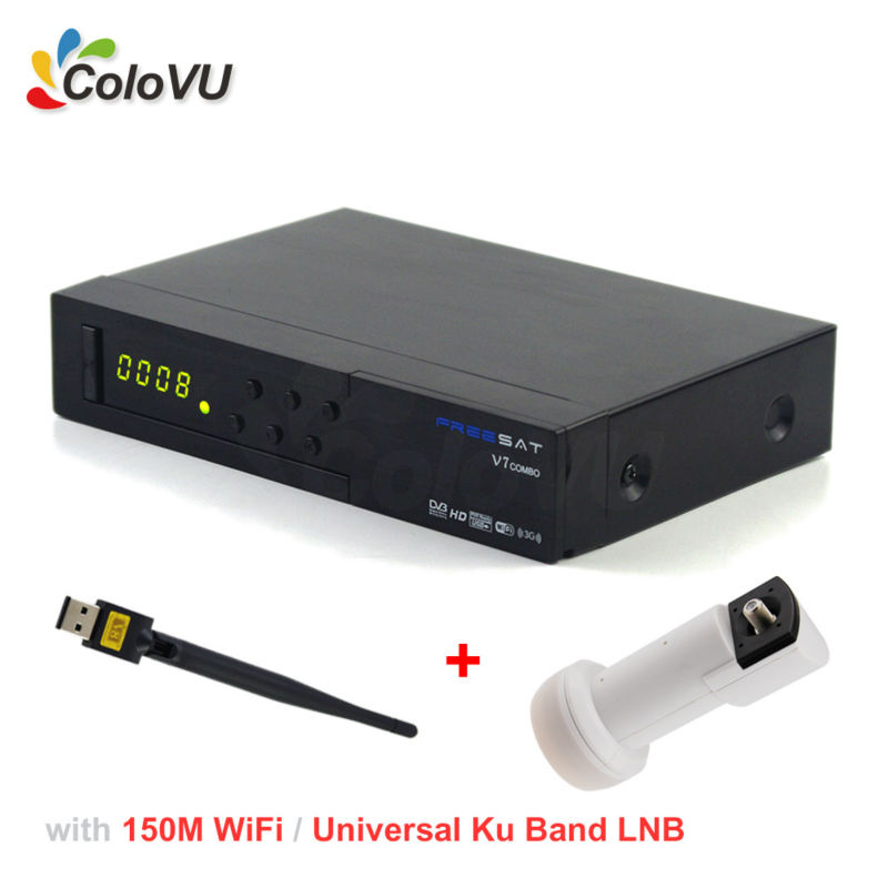 Satellite Receiver FreeSat V7 T2/S2 Combo + 150M USB WiFi + Universal Ku Band Single LNB support PowerVU DRE CCCam IPTV Full HD wholesale freesat v7 hd dvb s2 receptor satellite decoder v8 usb wifi hd 1080p support biss key powervu satellite receiver