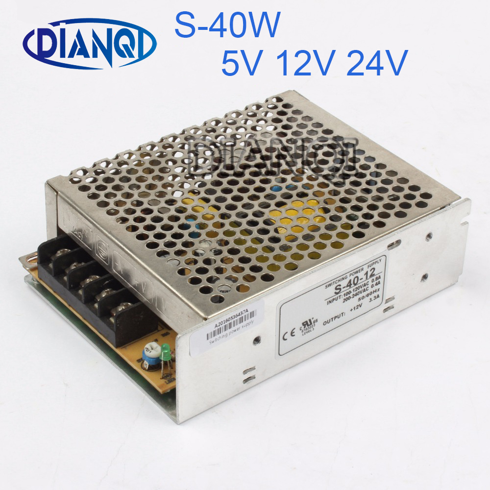 DIANQI power supply 50W 40W 12V 4.2A power supply 5V 15V 24V unit led ac dc converter 50w variable dc voltage regulator S-50-12 vi j50 cy 150v 5v 50w dc dc power supply module
