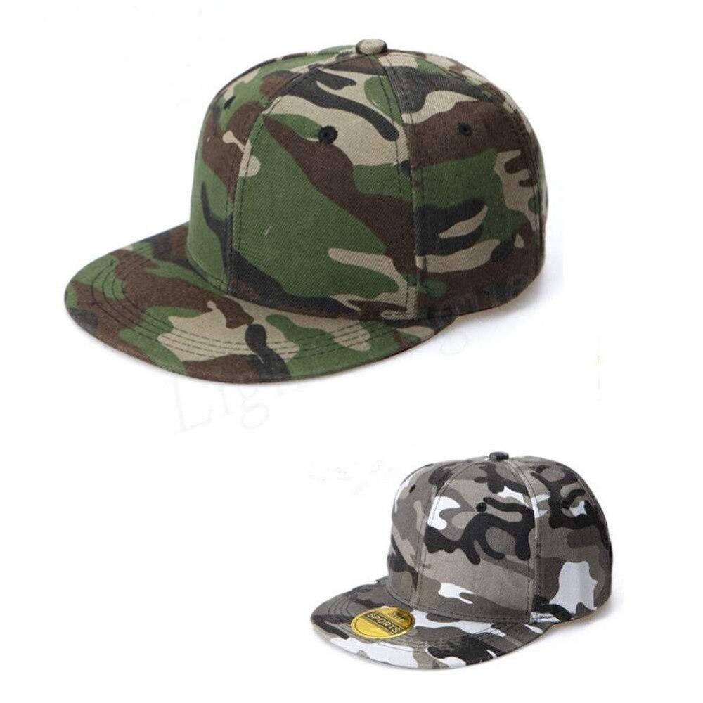 bd0e7054 Fashion Unisex Camo Camouflage Baseball Cap Hip Hop Hat Flat Snapback Green  Gray Camo Color New