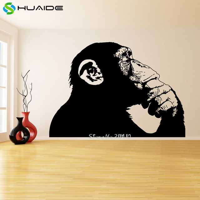 huge vinyl wall sticker home decor living room funny thinking monkey