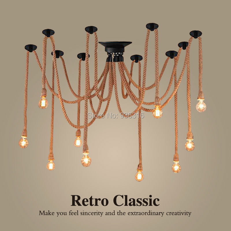 Hemp Rope Chandelier Antique Classical Adjustable Diy Ceiling Spider Lamp Light Retro Pedant Lamp for home 5-16heads 10 lights creative fairy vintage edison lamp shade multiple adjustable diy ceiling spider pendent lighting chandelier 10 ligh